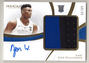 2019 Immaculate Zion Williamson rookie card