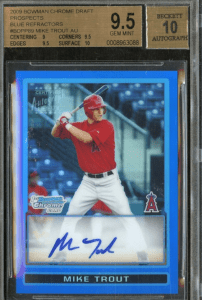 2009 mike trout rookie card blue refractor