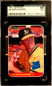 mark mcgwire rookie card value donruss