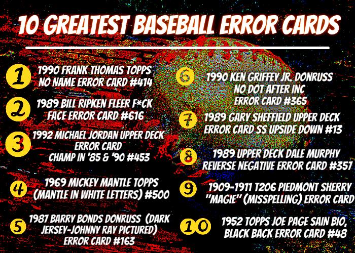 best baseball error card list