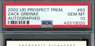 Zack Greinke rookie card
