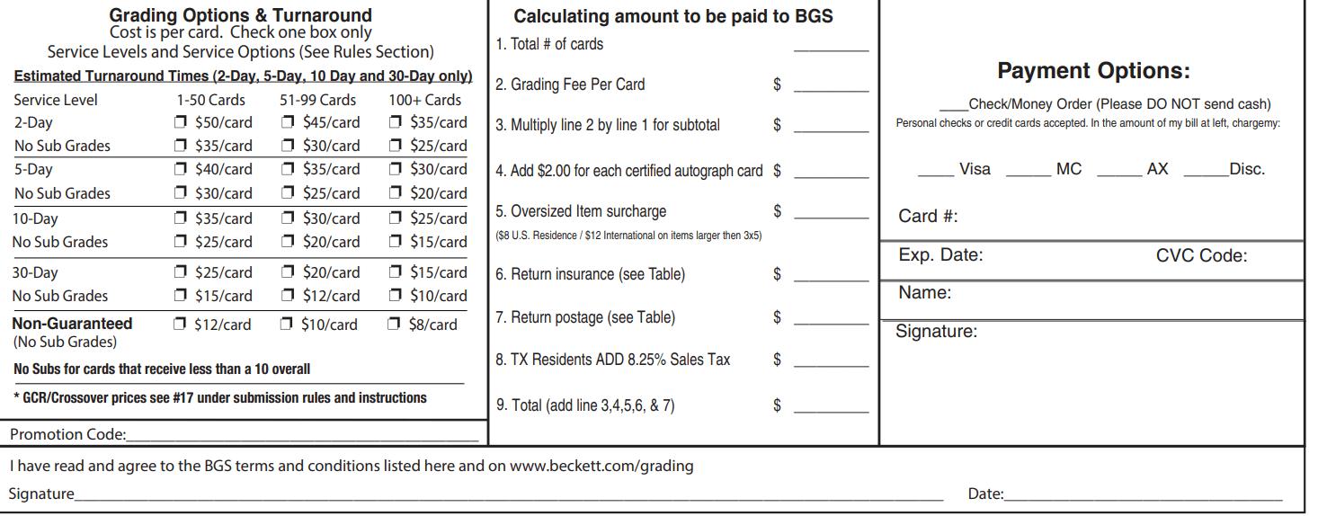 beckett grading cost