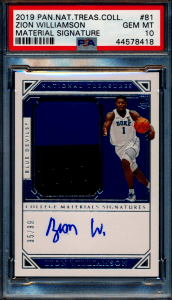 Zion Williamson National Treasures rookie card