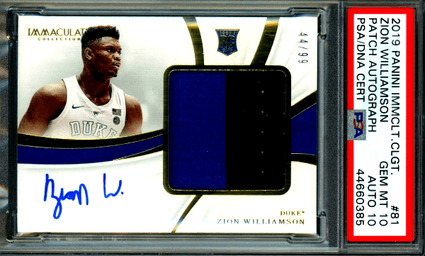 Zion Williamson Immaculate Rookie Cards