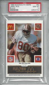 jerry rice rookie card mcdonalds