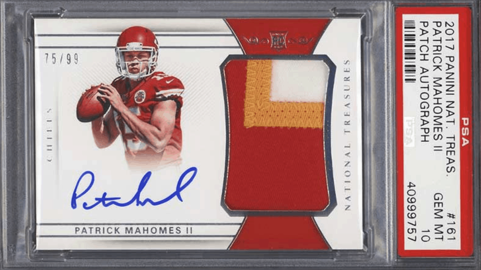 Patrick Mahomes National Treasures Autograph Patch