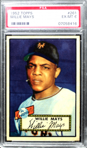 1952 topps baseball cards willie mays