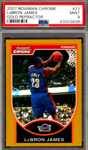 2007 LeBron James Bowman Chrome Gold Refractor