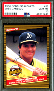 Jose Canseco donruss rookie card