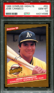 Jose Canseco Rookie Card Checklist