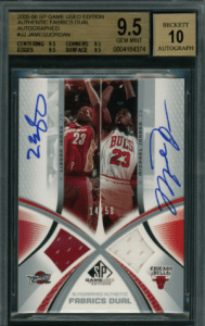 2005-06 SP Game Used Edition Michael Jordan LeBron James DUAL AUTO