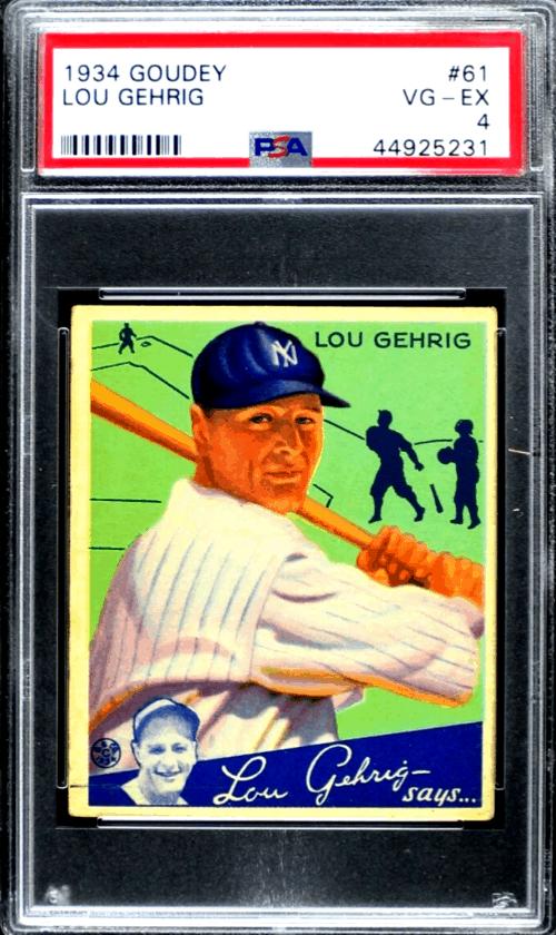 1934 lou gehrig baseball card