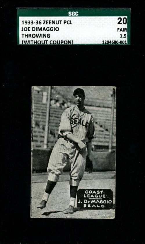 Joe DiMaggio Zeenut baseball card