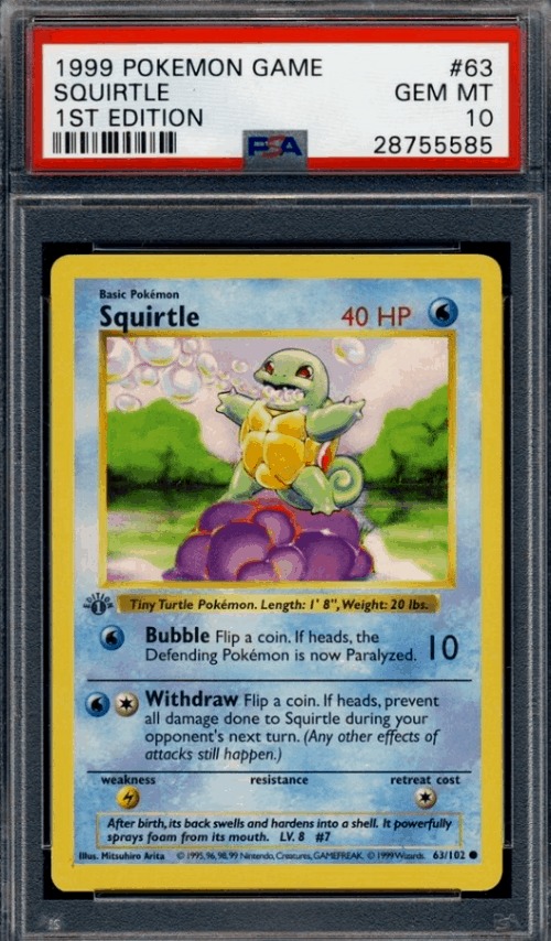 Most Valuable Pokemon Cards1999 Wizards Rare Squirtle 1st Edition