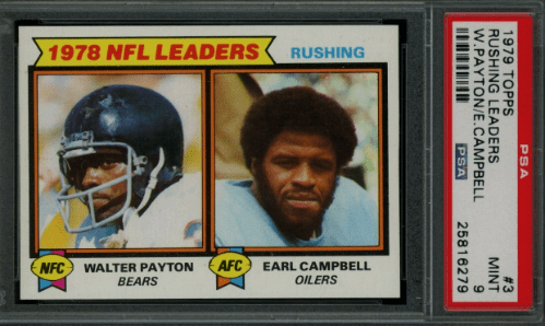 Earl Campbell Walter Payton Topps rookie card