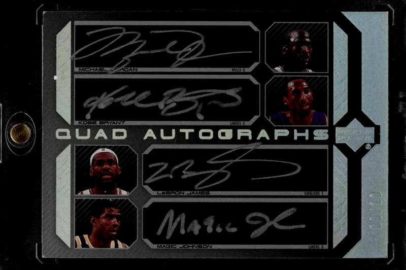 2007 Upper Deck Black Quad Michael Jordan, LeBron James, Kobe Bryant, Magic Johnson