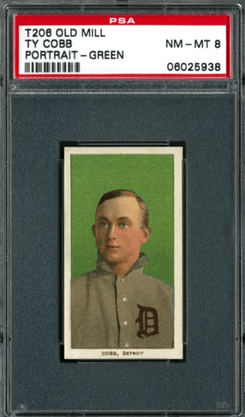 most valuable t206 cards ty cobb green back