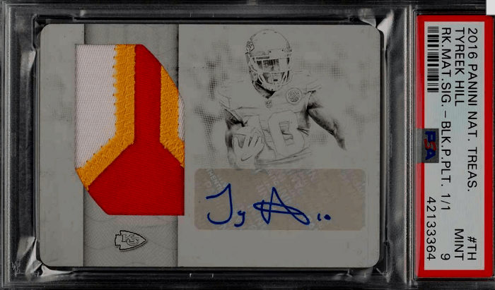 Tyreek Hill rookie card National Treasures RC #TH