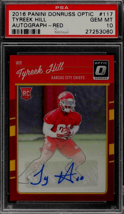 2016 Tyreek Hill Donruss Optic Rookie card