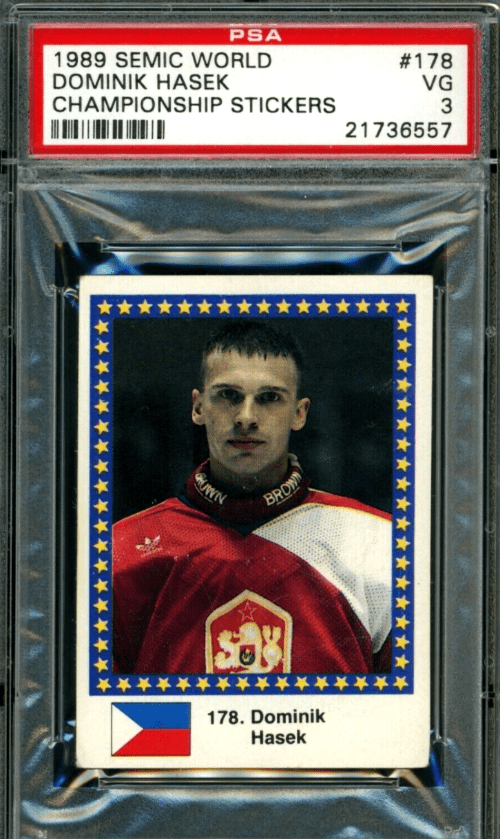 1989 Dominik Hasek Semic World Championship Stickers rookie card