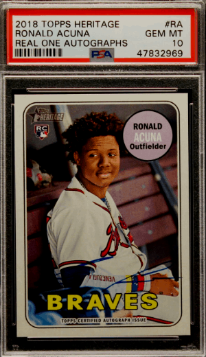 2018 Ronald Acuna Topps Heritage Real One SP RC Rookie