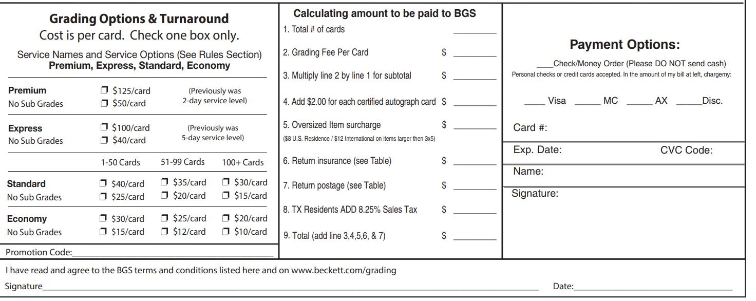 Beckett Grading Cost per card
