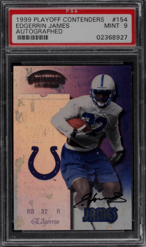 1999 Edgerrin James Playoff Contenders Autograph Rookie Card