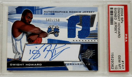 2004 Dwight Howard SPx Autograph Patch rookie card