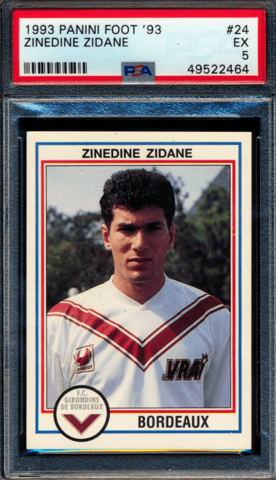 1993 Zinedine Zidane Panini Foot Stickers rookie