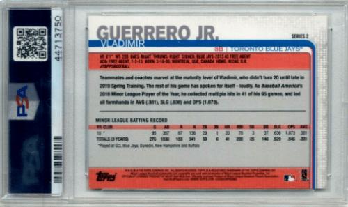 vladimir guerrero jr no number card