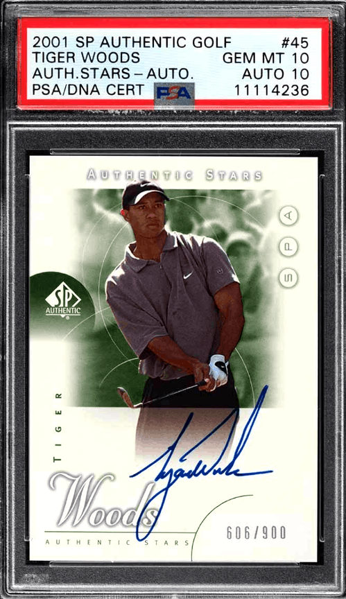 2001 Tiger Woods SP Authentic Golf rookie card