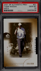 2001 Tiger Woods SP Authentic Preview Gold rookie card