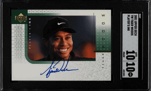 2001 Tiger Woods Upper Deck Player's Ink Auto Rookie card