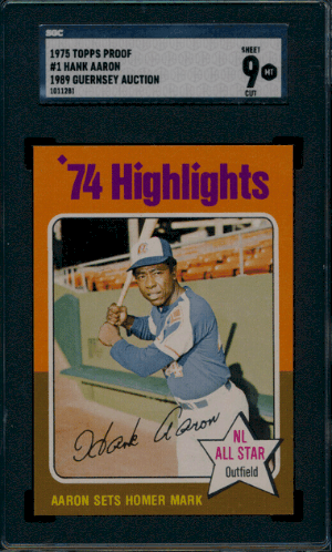 1975 Hank Aaron Topps baseball rookie card