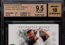 2014 Jack Nicklaus SP Authentic Tiger Woods '01 Tribute Auto /10 #TWJN