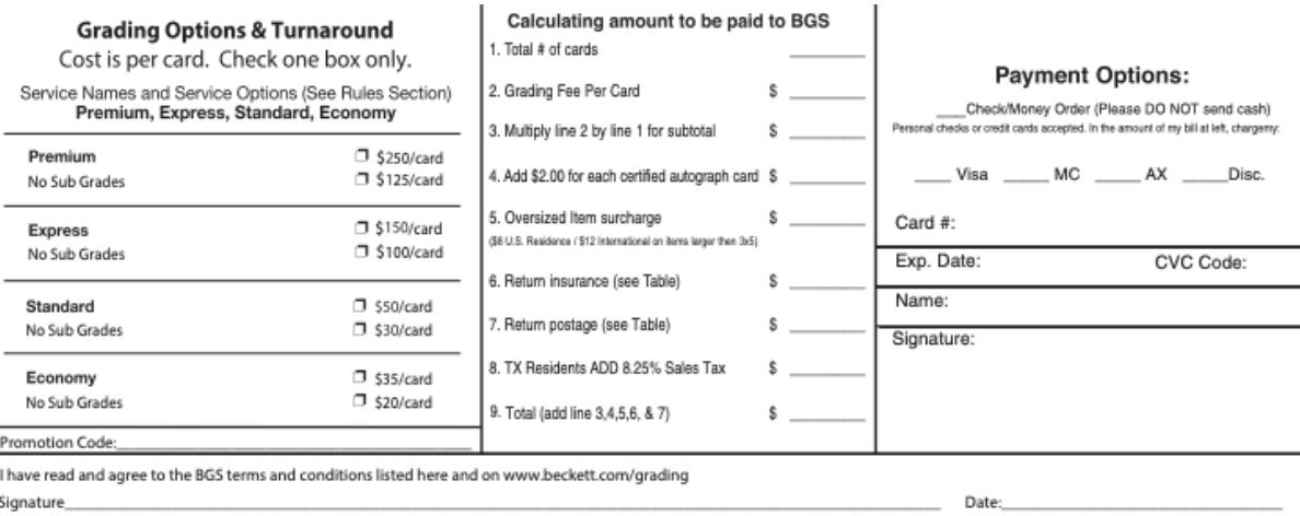 beckett grading fees