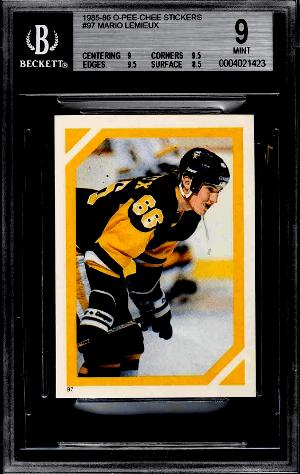 1985 O-Pee-Chee Mario Lemieux Sticker rookie card