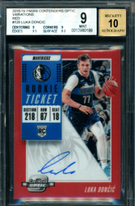 2018-19 Contenders Optic Red Ticket #128 Luka Doncic rookie card AUTO Variation