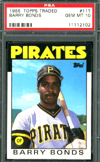 barry bonds topps traded rookie card