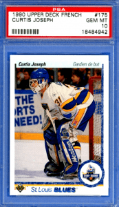 1990 curtis joseph upper deck french rookie card
