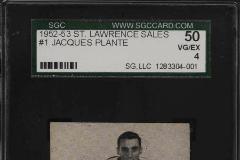 1952 Jacques Plante rookie card