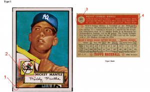 1952 Topps Mickey Mantle type 1 card