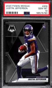 2020 mosaic football psa 10 justin jefferson rookie card 207