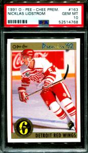 1991 Nicklas Lidstrom O-Pee-Chee Premier rookie card
