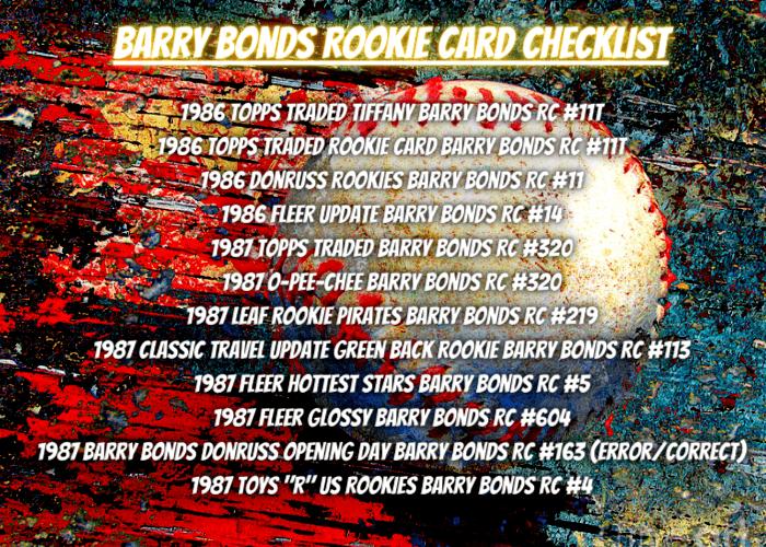 Barry Bonds Rookie Card Checklist