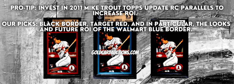 2011 mike trout topps update black, blue, red