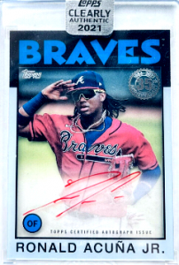 #4. 2021 Ronald Acuna Jr. Topps Clearly Authentic 1986 Throwback Auto