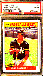 1986 Jose Canseco Fleer Baseball's Best