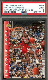 1992 Upper Deck Michael Jordan Error Card #453