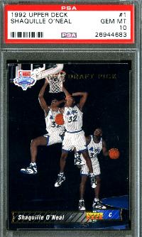 1992 upper deck basketball shaq rc